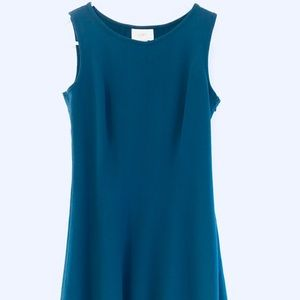 Loft blue fitted flare work dress